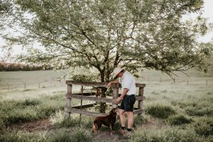 Farmer Tim with dog Mabs on their regenerative farm