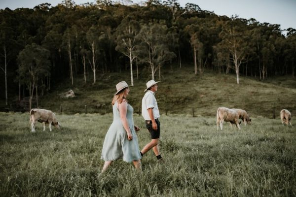 The Food Farm owners Tim and Hannah walking through a paddock with cows grazing in the background